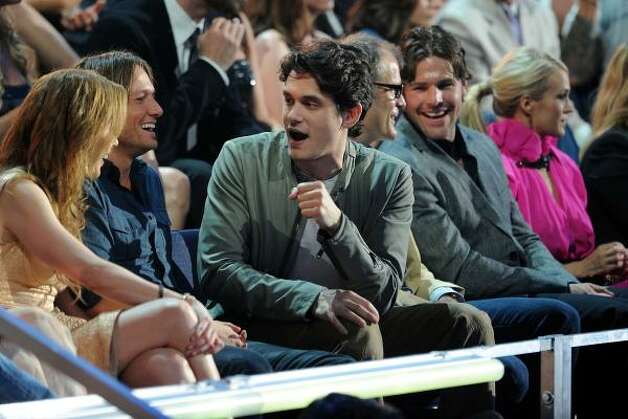 From left, Nicole Kidman, Keith Urban and John Mayer. Photo: Jason Merritt, Getty Images