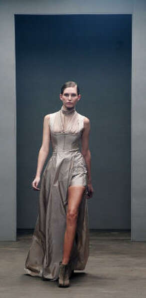 This dress designer Marios Schwab at a show during London's Fashion Week. Some brides choose to go b