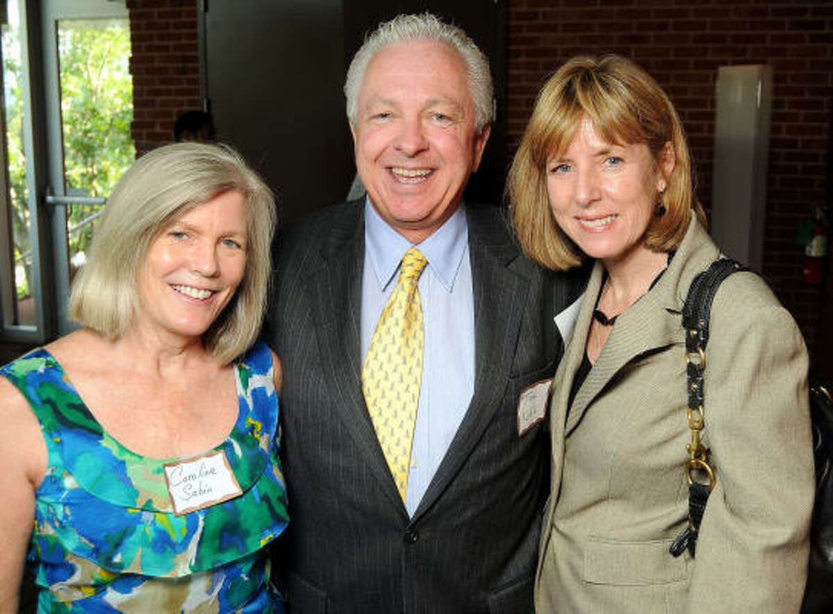 From left: Caroline Sabin, Tom Nall and Jana Mullins at a Discovery Green Conservancy reception honoring outgoing president and park director Guy Hagstette at The Grove restaurant.