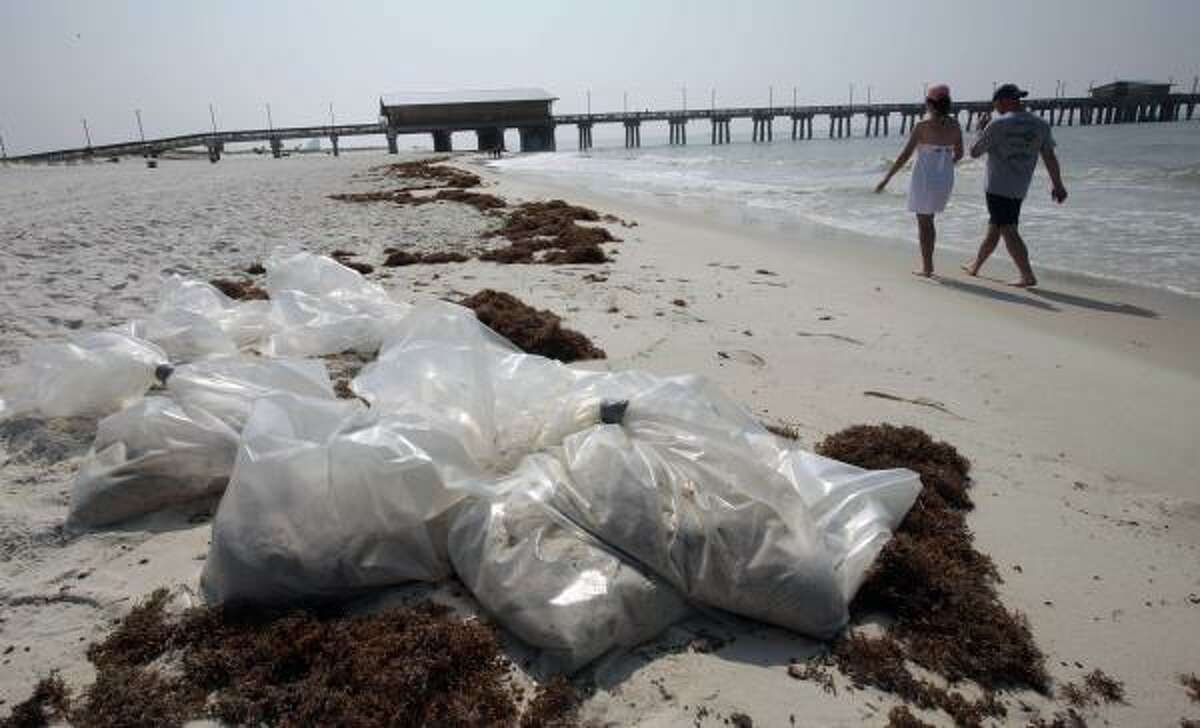Gwen and Eddie West of Huntsville, Ala., walk past unattended bags of sand and oil on the beach in Gulf Shores, Ala., Monday, June 7, 2010. A mixture of oil and seaweed has washed up along the coast in Alabama. Officials cleaned the beach Sunday but left the bags of sandy oil on the beach.
