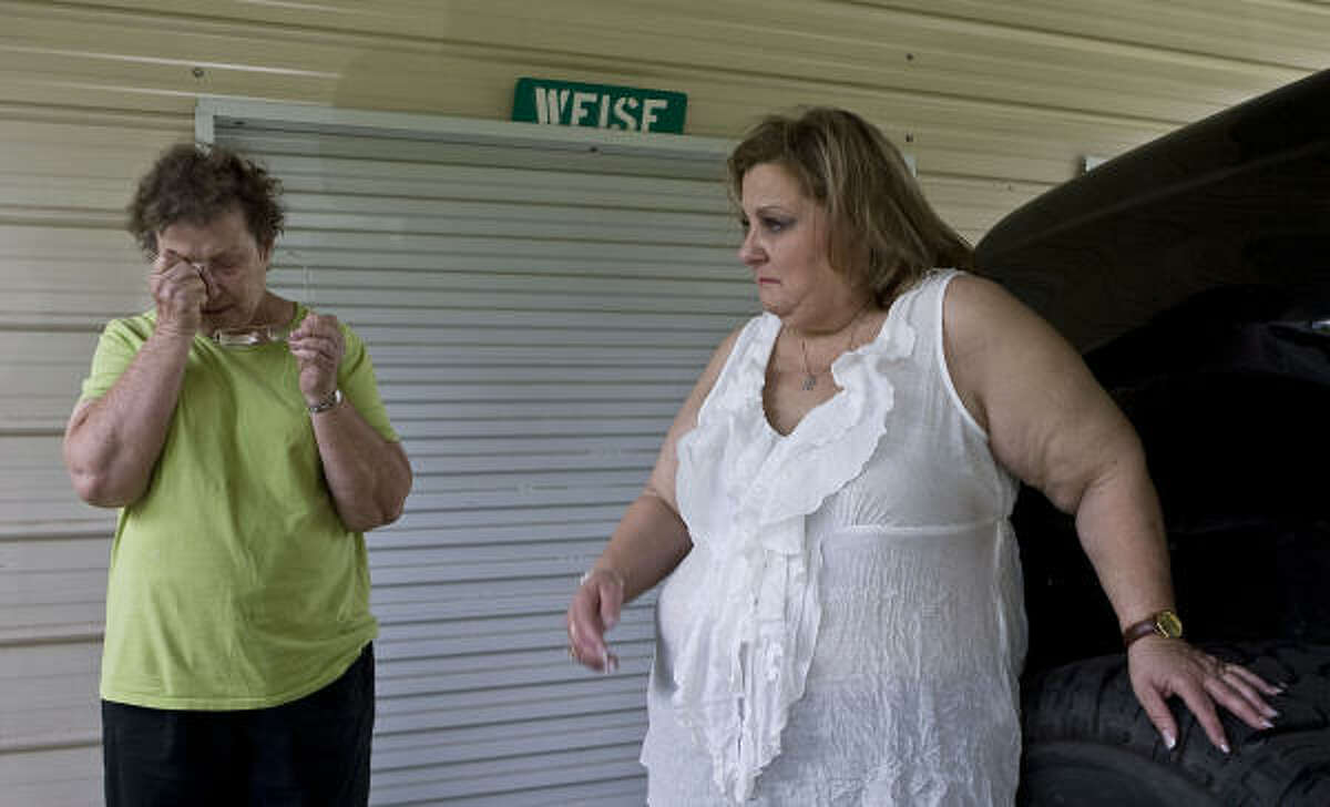 Adam Weise's grandmother Nelda Winslette, left, and mother, Arleen Weise, shed tears after the accident.