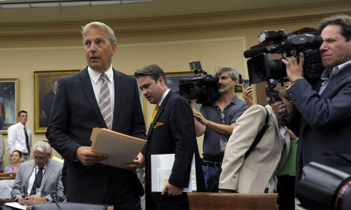Actor and partner of Ocean Therapy Solutions Kevin Costner arrives on Capitol Hill on Wednesday, June 9, 2010, to testify before the House Science and Technology subcommittee hearing on the effectiveness of oil spill cleanups.