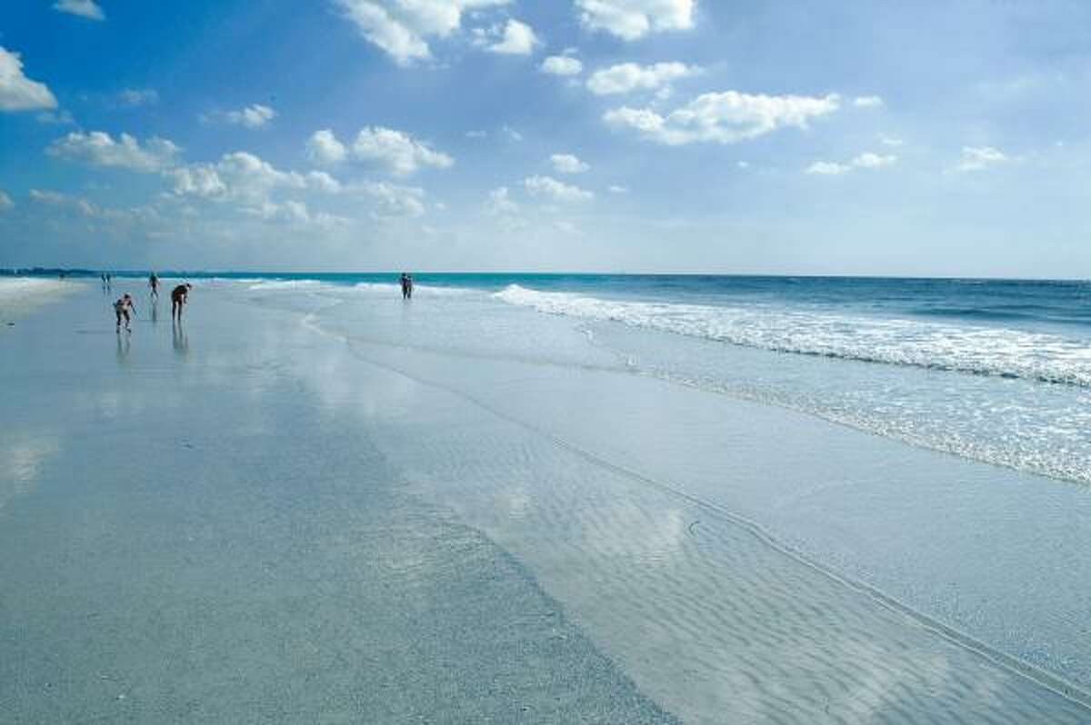 Siesta Beach in Sarasota, Fla., has fine, white sand that feels cool to the touch even in the middle of summer.