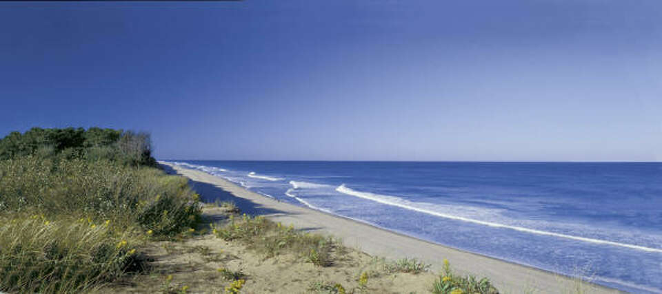 Coast Guard Beach, Cape Cod, Mass., has dunes, good swimming in summer, body-surfing and boogie-boar