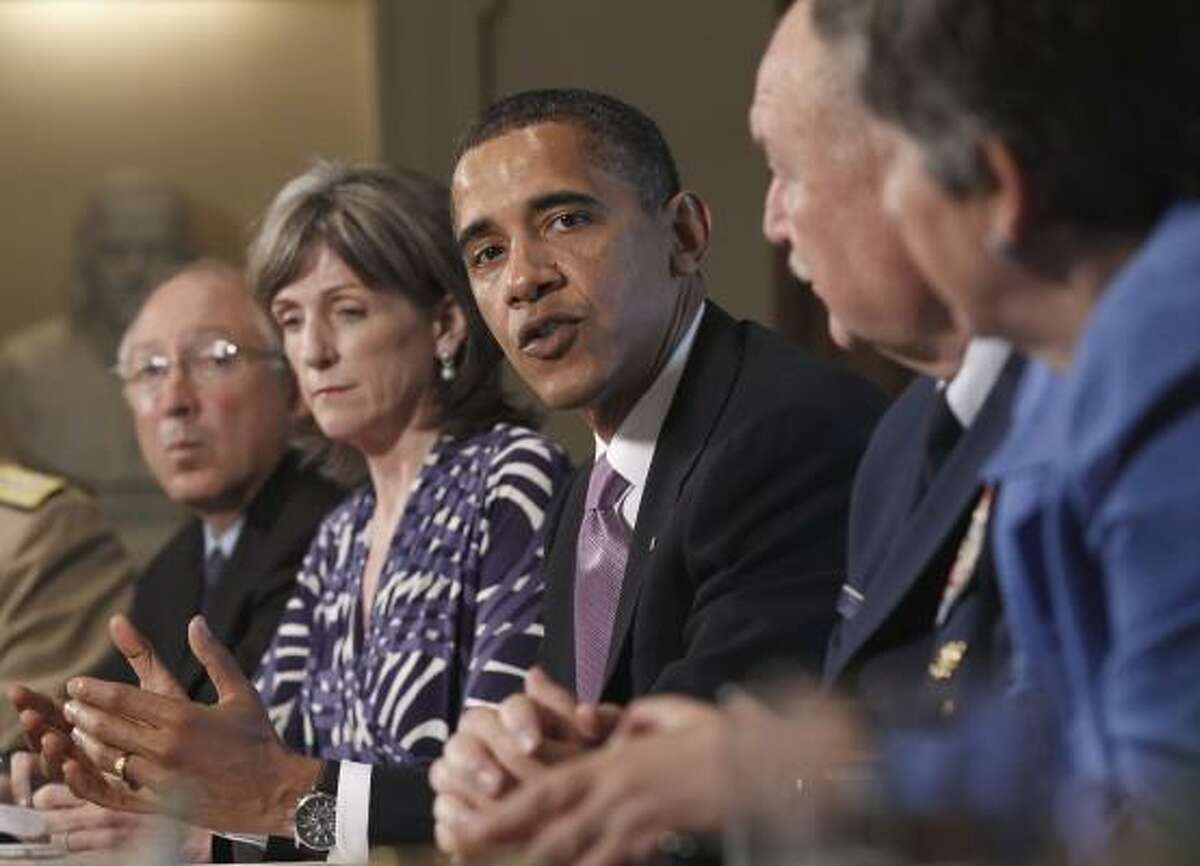 President Barack Obama meets with members of his Cabinet to discuss the response to BP Deepwater Horizon oil spill, Monday, June 7, 2010, in the Cabinet Room of the White House in Washington.