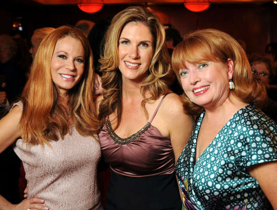 From left: Cindi Rose, Maeve Pesquera and Karen Wildenstein at the Rose Ribbon Foundation's Shades of Roses dinner at Fleming's Prime Steakhouse and Wine Bar. Photo: Dave Rossman, For The Chronicle