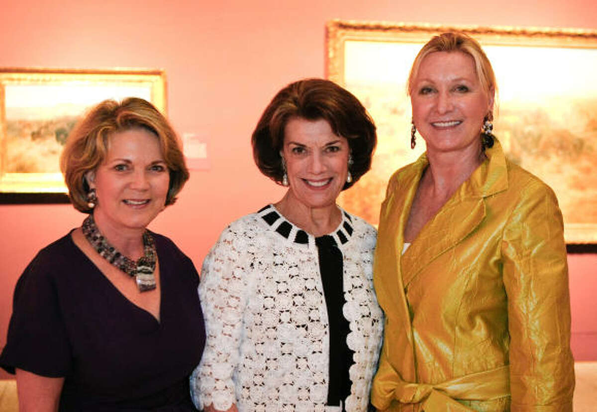 Pam Ott, left, Jeanie Kilroy, and Carol Linn at a Museum of Fine Arts, Houston dinner celebrating the Masterworks of Charles M. Russell: A Retrospective of Paintings and Sculpture.