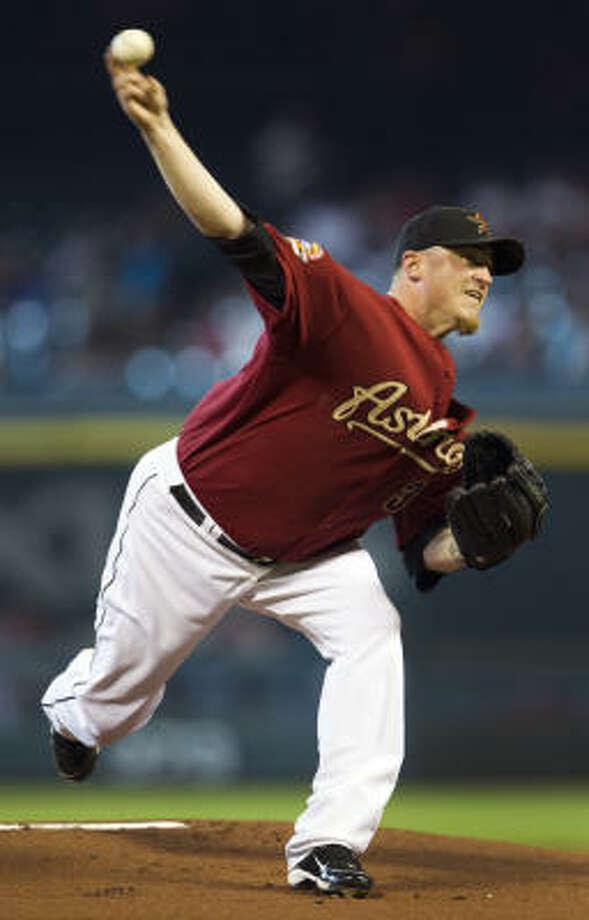 Astros starter Brett Myers lowered his ERA to 3.01. Photo: Brett Coomer, Chronicle