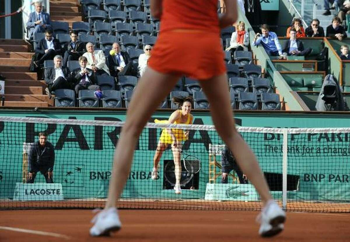 Serbia's Jelena Jankovic serves to Slovakia's Daniela Hantuchova. Jankovic won 6-4, 6-2.