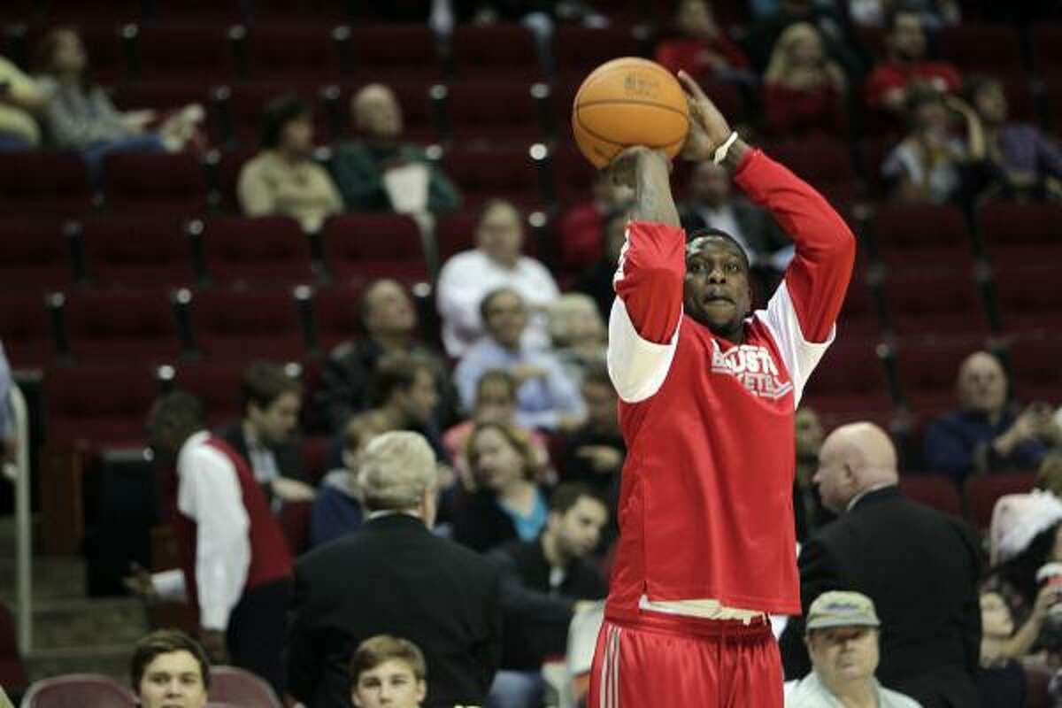 Guard Jermaine Taylor warms up before the Rockets played the Sacramento Kings on Tuesday night at Toyota Center.