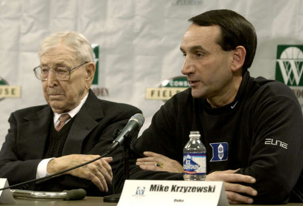 Wooden, left, is the only coach to have four undefeated seasons of 30-0 (1963-64, 1966-67, 1971-72, 1972-73).