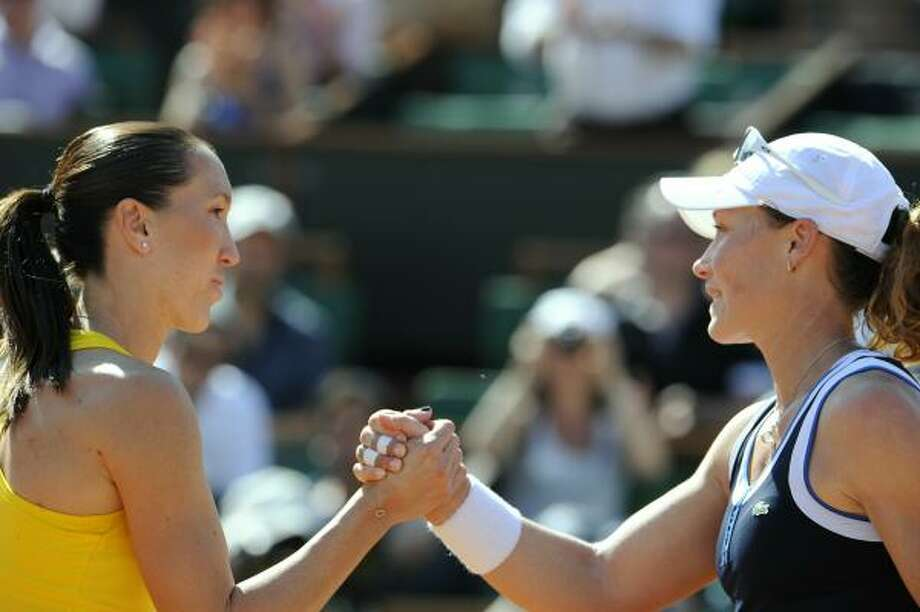 June 3: SemifinalsSamantha Stosur, right, became the first Australian woman in 30 years to reach a Grand Slam final by drubbing former No. 1 Jelena Jankovic 6-1, 6-2. Photo: BORIS HORVAT, AFP/Getty Images