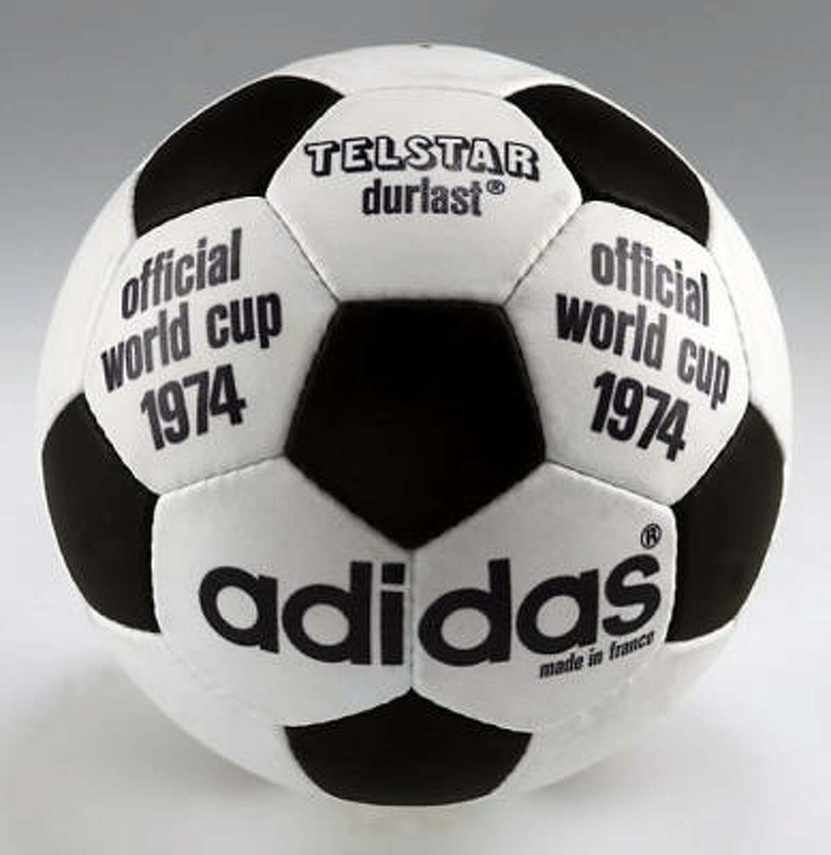 West Germany 1974: Telstar Duralast The ball didn't change much in four years. The lettering was in black instead of gold.