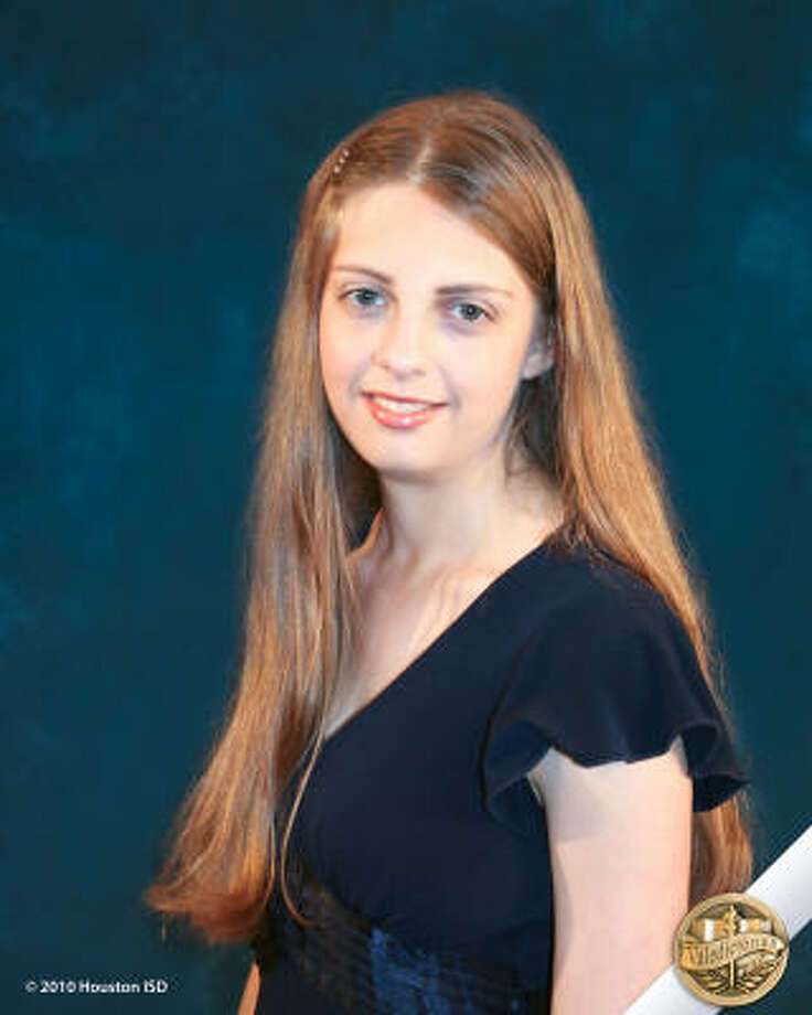"""Ellen Taylor, High School for Performing & Visual Arts Class rank: Valedictorian;  College:  After a year in France, Middlebury College Goal for the Future: """"I want eventually to get a PhD in biology."""" Photo: Courtesy Of Houston ISD"""