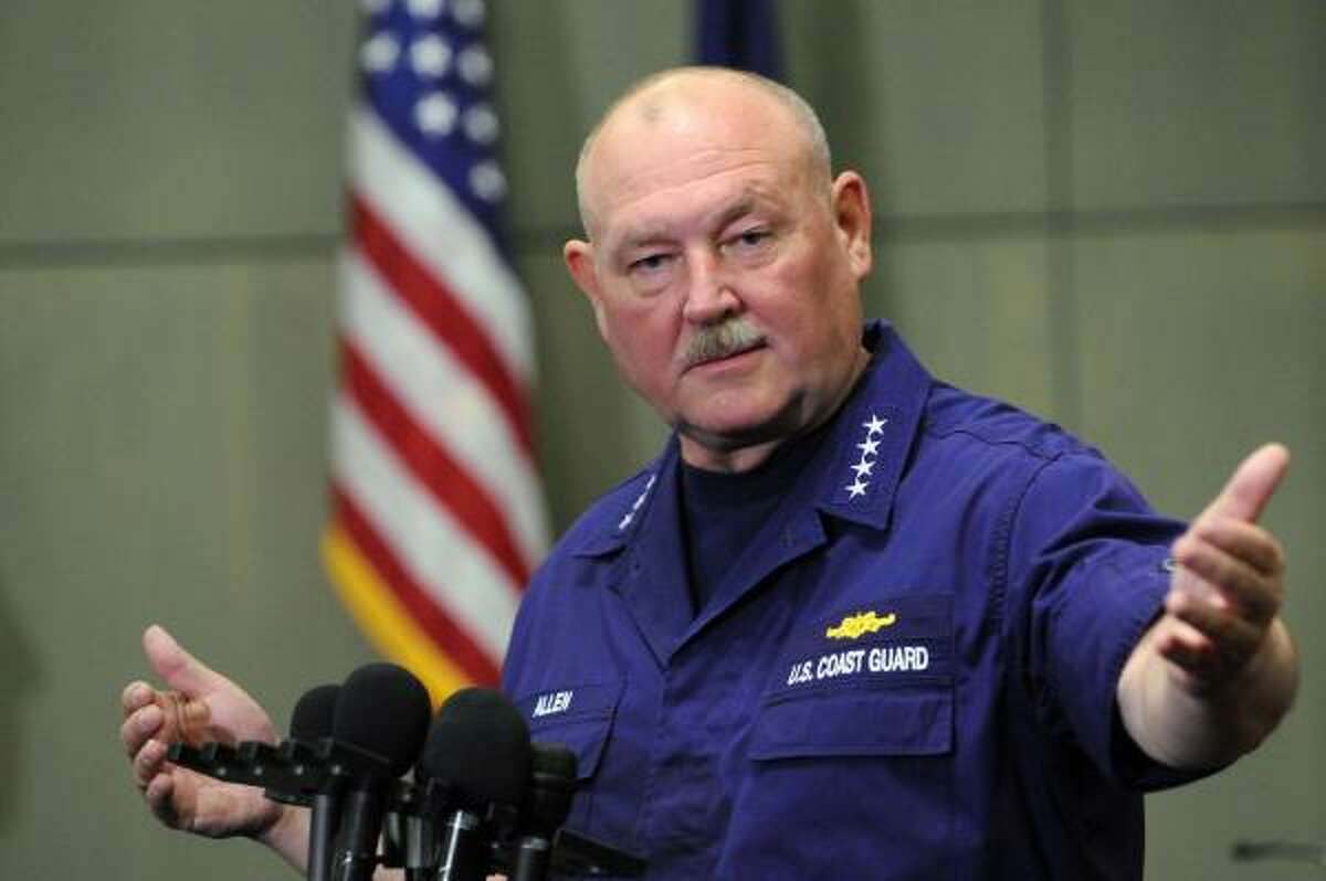 U.S. Coast Guard Admiral Thad Allen, national incident commander, speaks to reporters about procedures to contain the BP oil leak in the Gulf of Mexico as well as hurricane preparations for the forecasted busy season, in New Orleans, Tuesday, June 1, 2010.