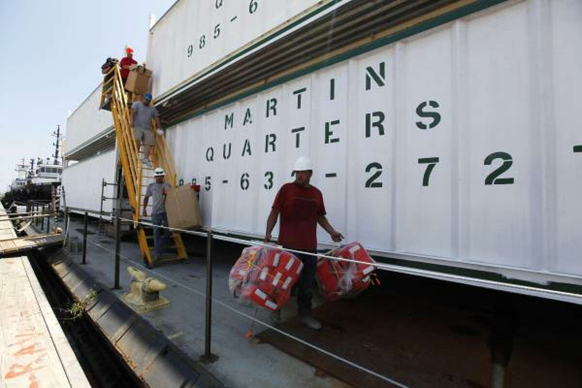 Floating living quarters for Deepwater Horizon oil spill cleanup workers, known as