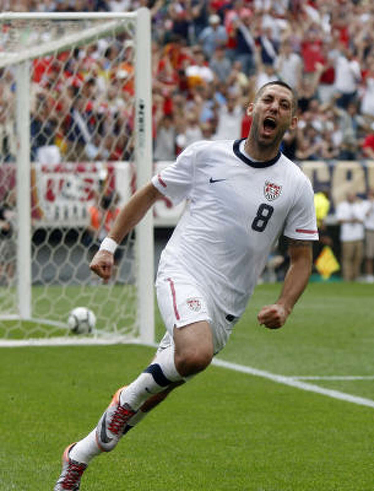 United States' Clint Dempsey celebrates his game-winning goal during the second half of a World Cup warmup soccer match against Turkey.