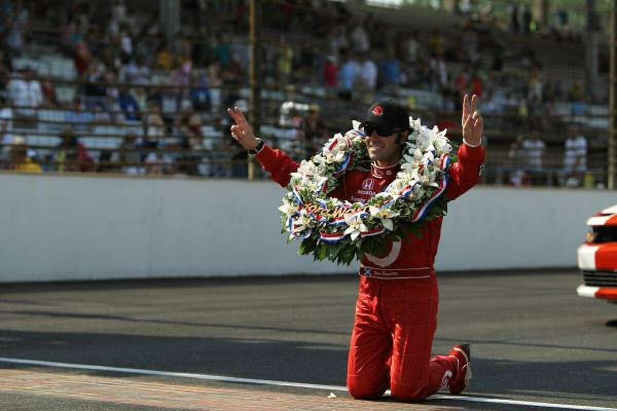 Dario Franchitti celebrates his Indy 500 victory.