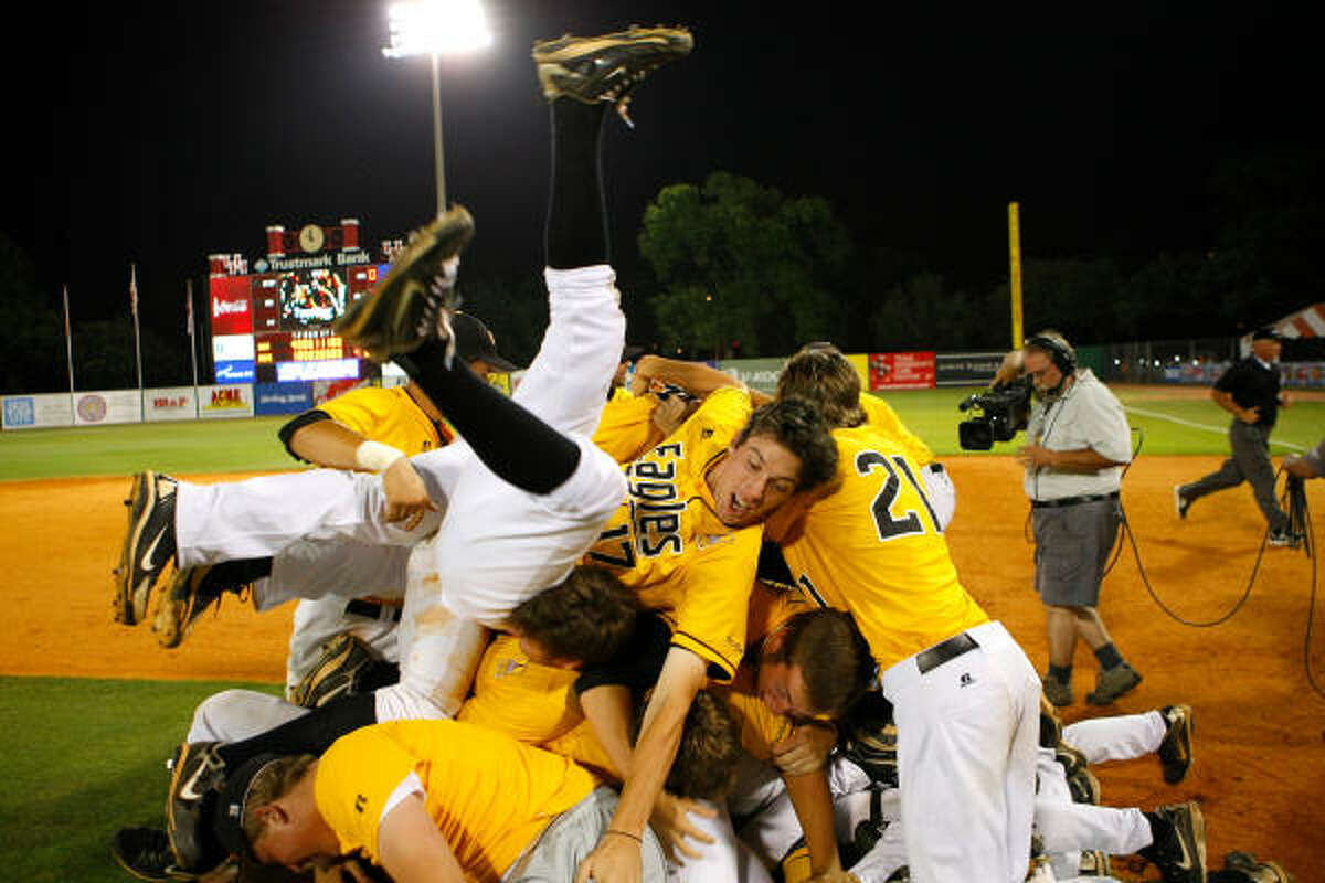 May 29: Southern Miss 7, Rice 4 The Southern Miss Golden Eagles celebrate after beating Rice in Saturday's Conference USA championship game at Cougar Field.