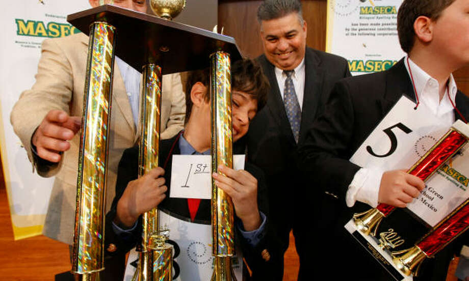 And it all paid off. Jacob, who isn't a native Spanish speaker, took first place. Photo: Julio Cortez, Chronicle