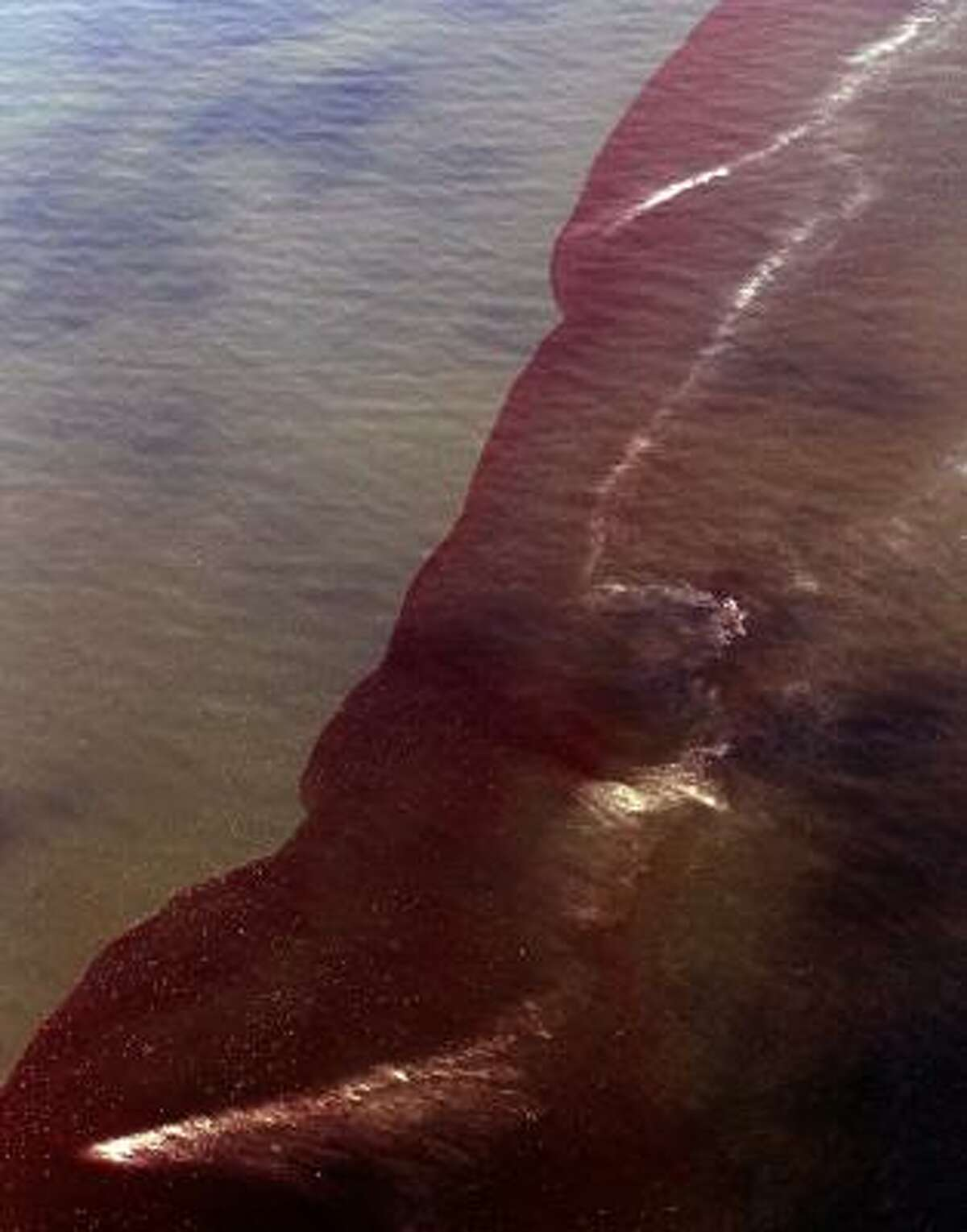 Oil mixes with water off the coast near Venice, La.