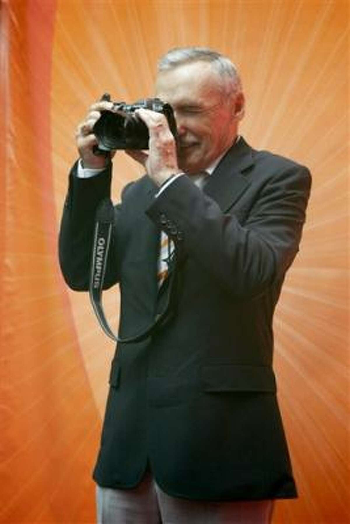 Hopper turns his own camera on the media at Radio City Music Hall in 2005.
