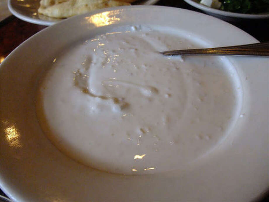 Kasra Persian Grill's mast museer, house-made yogurt with very finely minced shallot. Photo: Alison Cook, Chronicle