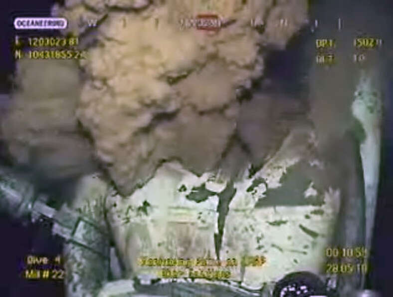 This image made from video released by BP early Friday, May 28, 2010 shows drilling mud escaping fro