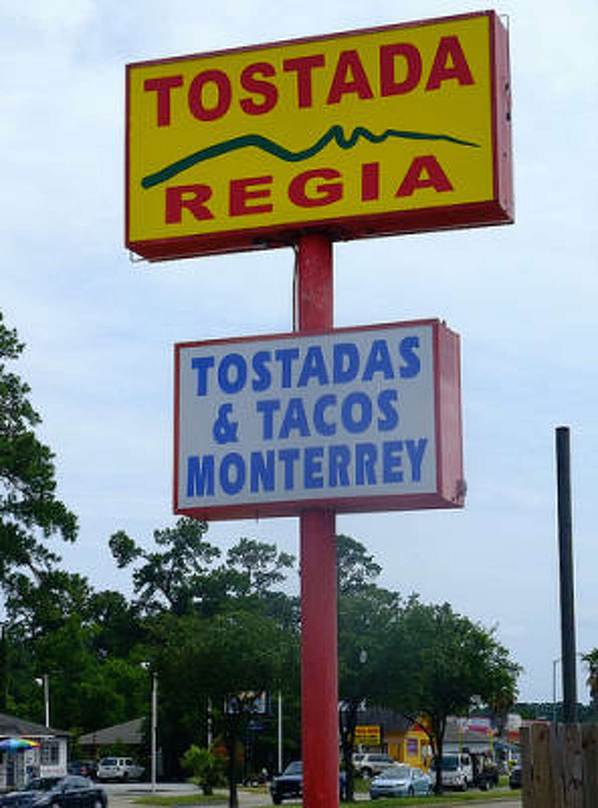 Look for the tall sign advertising Monterrey-style tostadas and tacos.