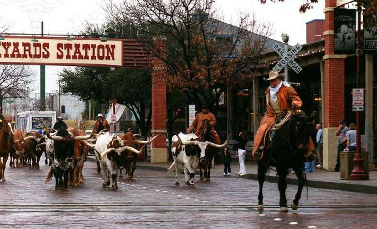 Stockyards National Historic District Cowboys drive cattle through the middle of the street. Really! Enjoy the view of the twice-daily cattle drive where real cowhands lead longhorns through the Stockyards.