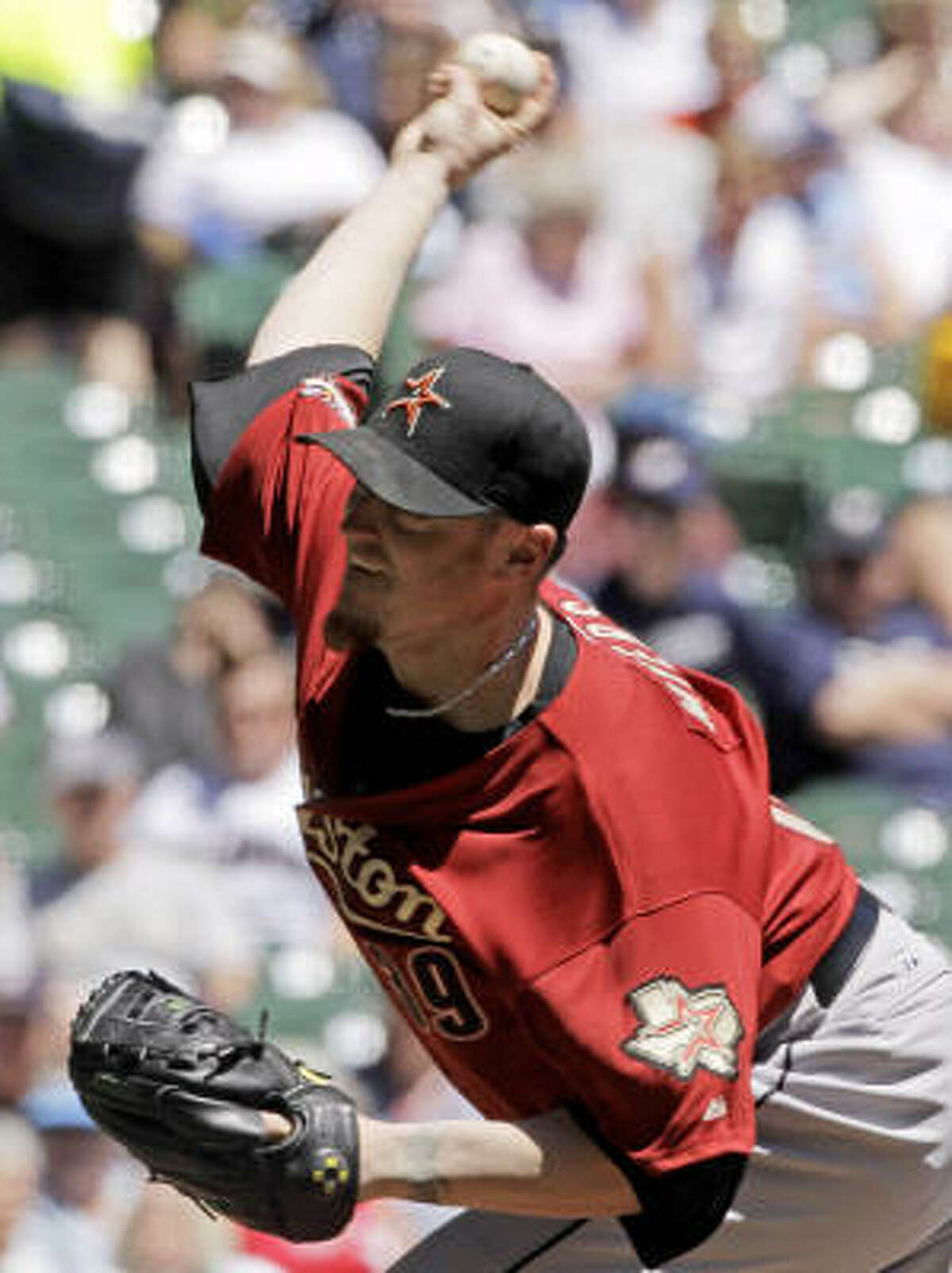 Astros starting pitcher Brett Myers went six innings, scattering seven hits and giving up two runs.