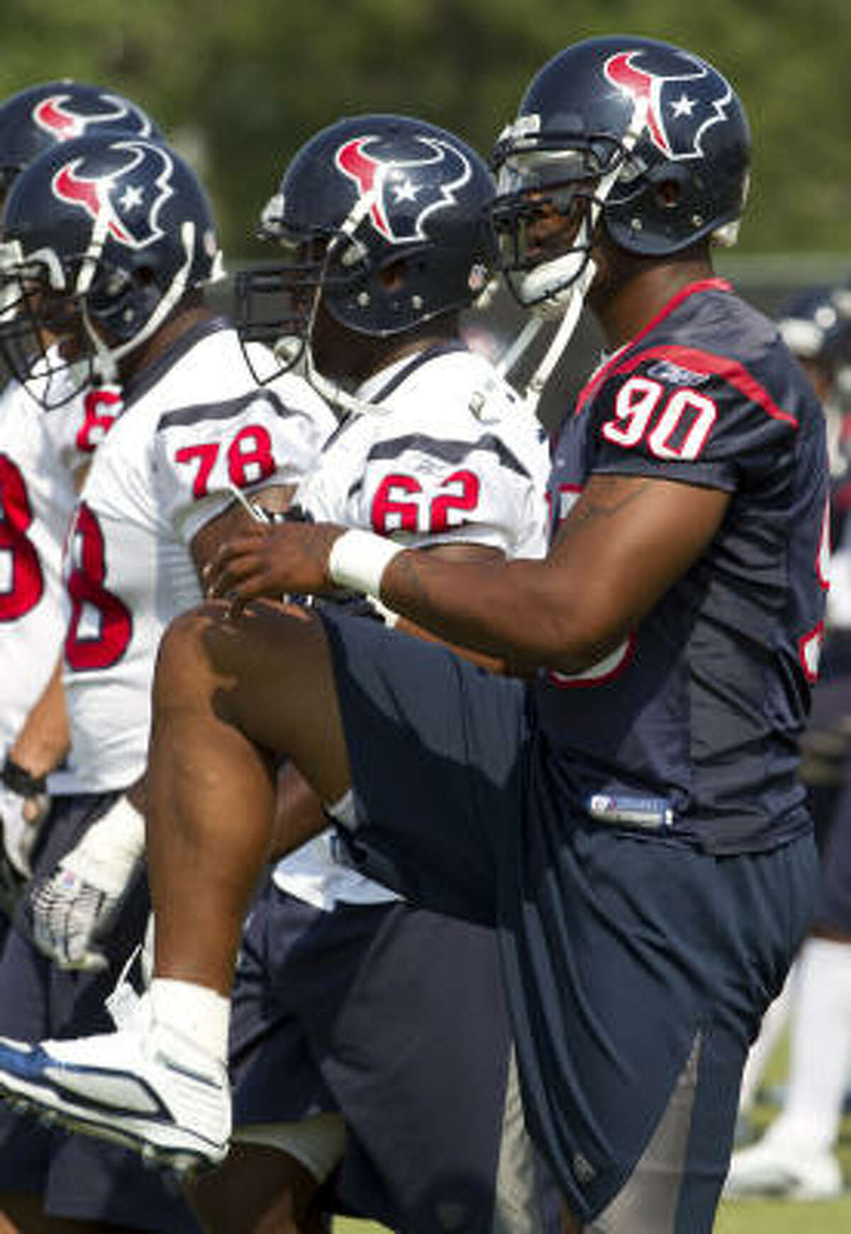 Texans defensive end Mario Williams stretches out.