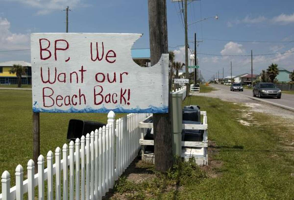 A sign protesting the oil spill and BP in Grand Isle, La., Thursday, May 27, 2010.