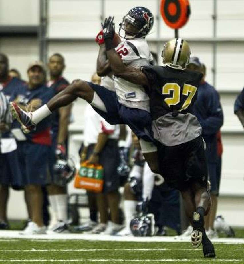 Jacoby Jones has been focusing on receiving in training camp after a productive season. Photo: Brett Coomer, Chronicle