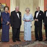 Britain's Queen Elizabeth II stands with former prime ministers Tony Blair, from left, Margaret Thatcher, Sir Edward Heath, James Callaghan and John Major in Downing Street, Monday April 29, 2002, before a celebratory royal Golden Jubilee dinner.
