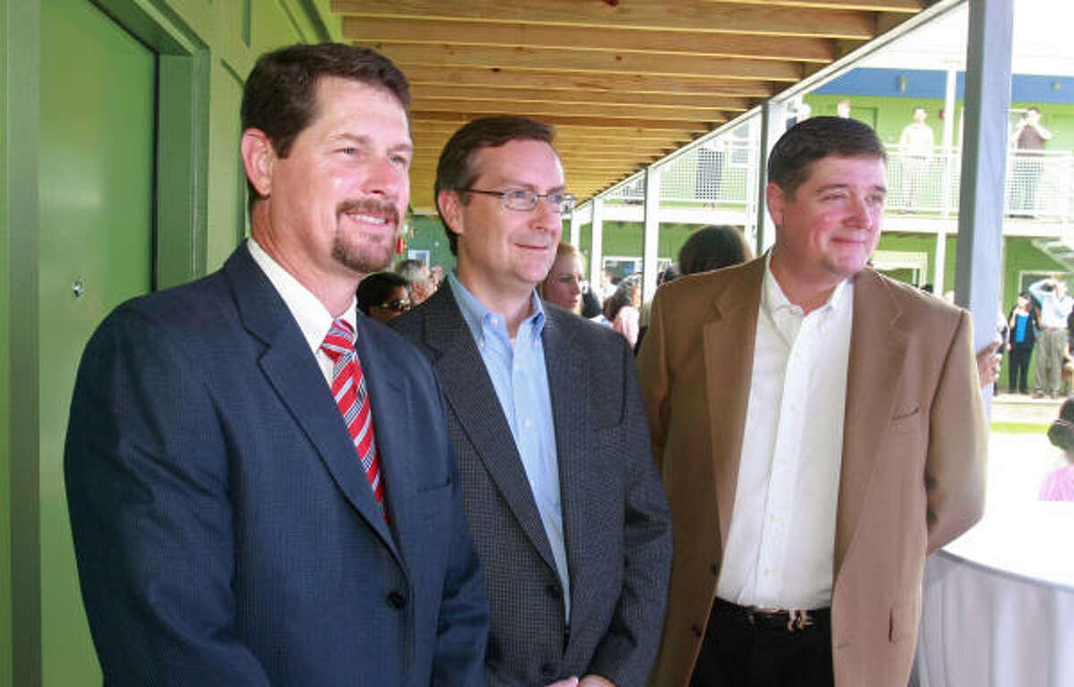 Hunter Botts, from left, Ken Overshiner and Robert Johnston