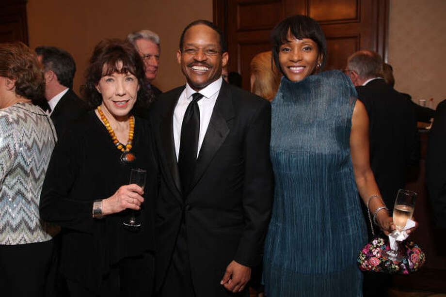 Lily Tomlin and Wayne and Judy McConnell at the LOL w/Lily event benefiting Houston Area Women's Center. Photo: Paul Ladd