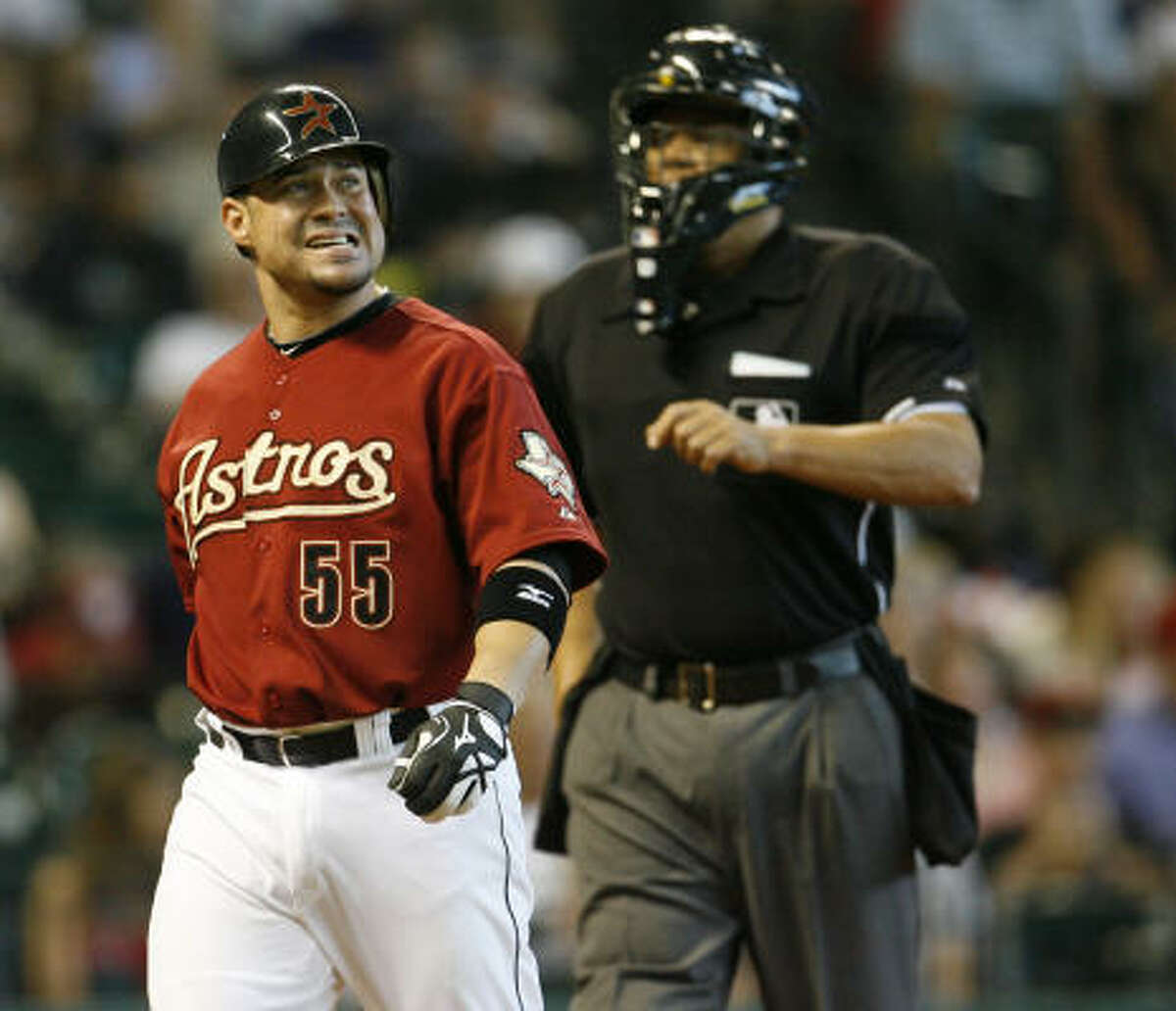Humberto Quintero grimaces after striking out during the third inning.