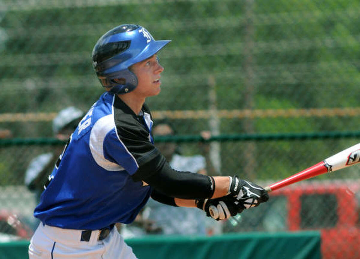Friendswood's Brandon Hollier laces the ball during this at-bat.