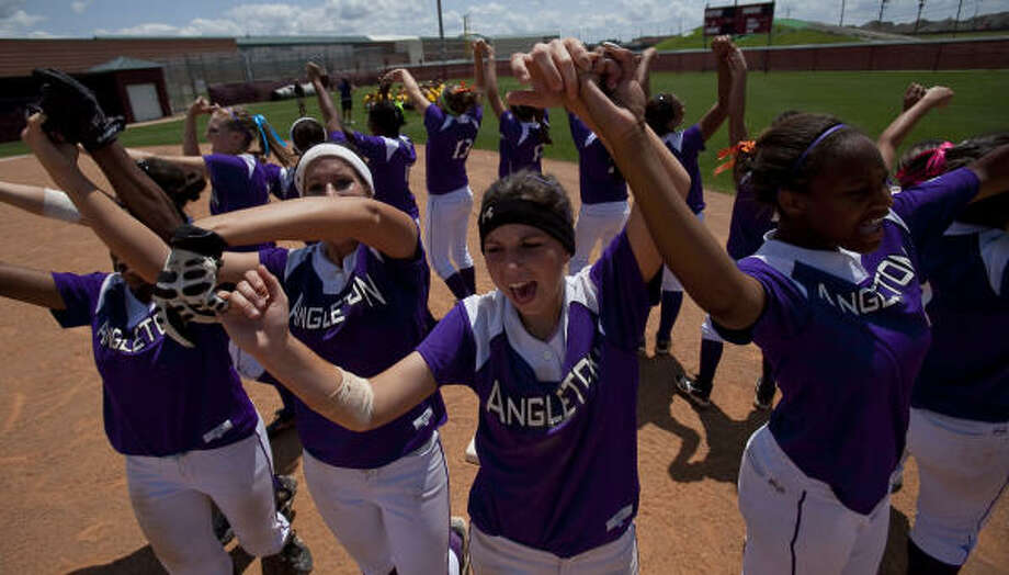 May 22: Angleton 7, Montgomery 3Angleton celebrates after defeating Montgomery in Game 3 of their Class 4A Regional III semifinal series on Saturday. The Wildcats advance to face Magnolia in next week's regional championship. Photo: Nathan Lindstrom, For The Chronicle