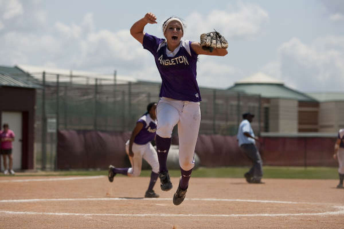 Angleton senior pitcher Madyson Ward celebrates after recording the final out in Game 3.