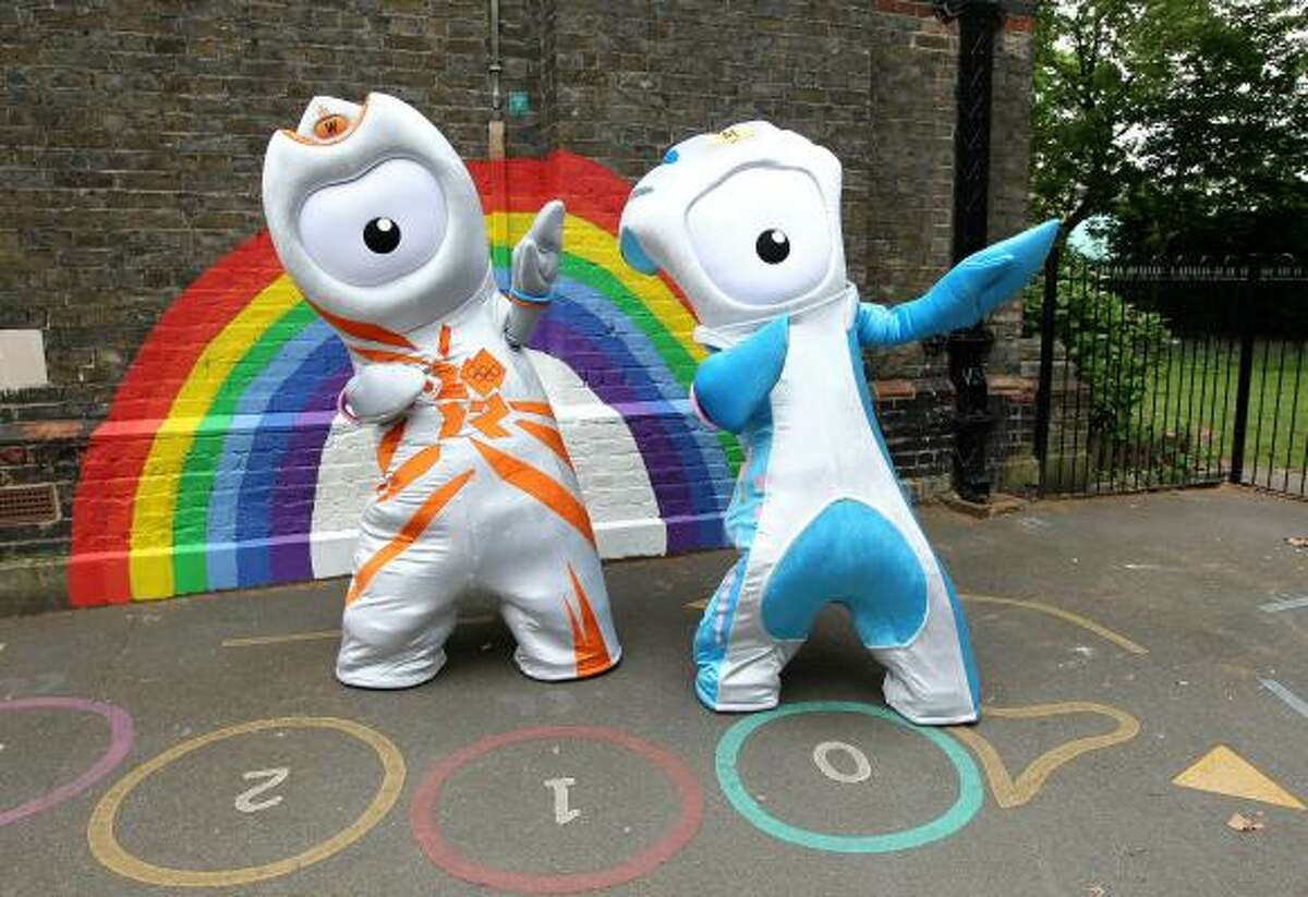 2012 OLYMPICS, PARALYMPICS The Olympic mascot Wenlock, left, and the Paralympic mascot Mandeville are unveiled to the media as the mascots for London 2012 on Wednesday, May 19. The theme of the two mascots is that they were created from the last drops of steel left over from the construction of the final support girder for the Olympic Stadium. The one-eyed monsters are sure to be the object of much derision.
