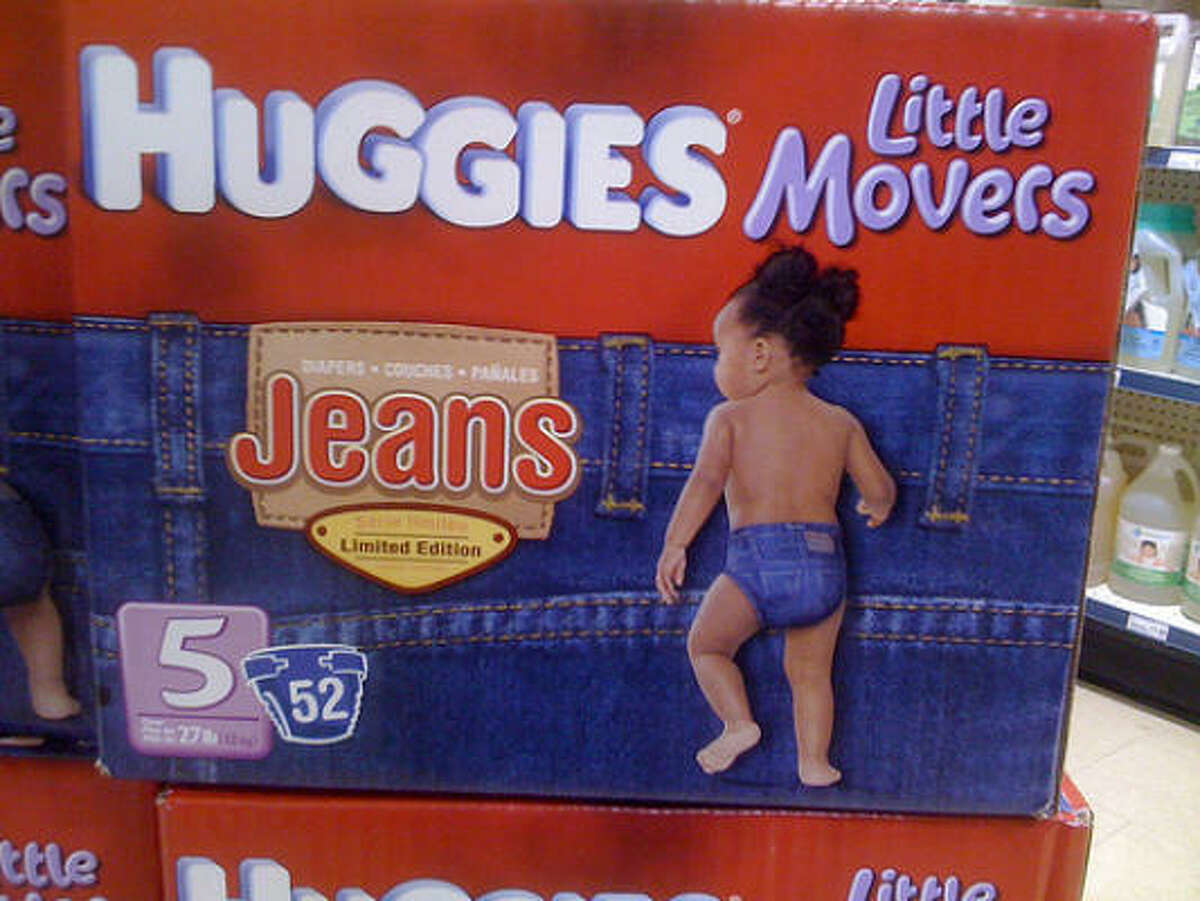 The hip new Huggies are being sold at Targethref>, for about the same price as boring, non-denim diapers.