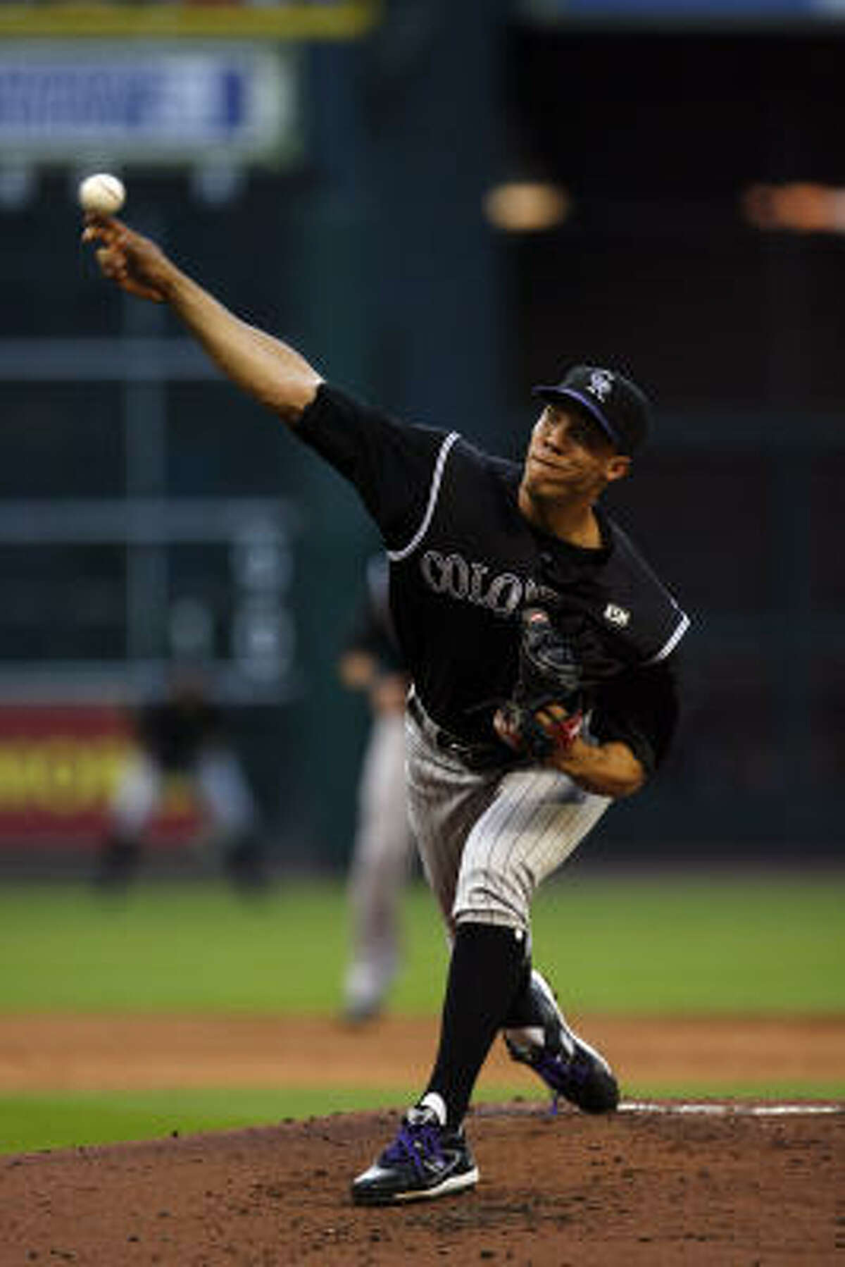 Rockies Ubaldo Jimenez threw for seven innings and gave up only one hit and struck out four.