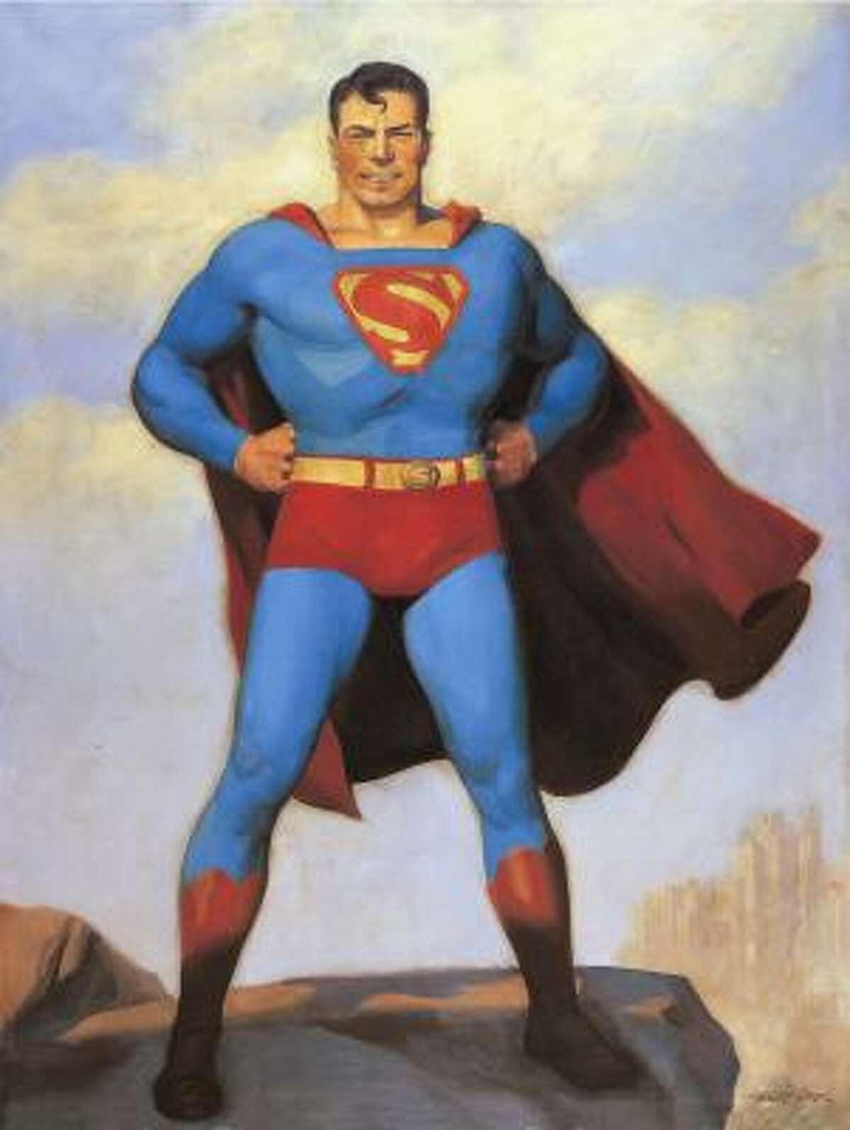 Superman, an alien who embraced the American way of life, is depicted in a 1940 painting by H.J. Ward in 75 Years of DC Comics: The Art of Modern Mythmaking.