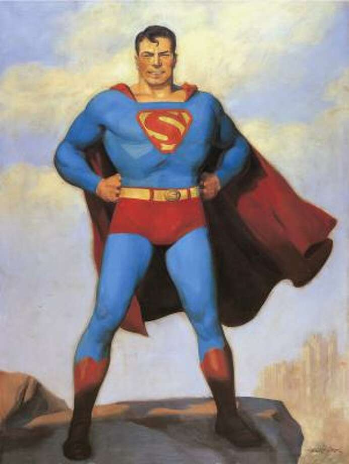 Superman, an alien who embraced the American way of life, is depicted in a 1940 painting by H.J. Ward in 75 Years of DC Comics: The Art of Modern Mythmaking. Photo: Painting By H.J. Ward/Courtesy T