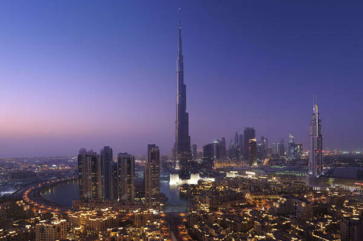 Part of the sparkle of Dubai is that the city is new. Here's downtown Dubai with the Burj Khalifa tower, the world's tallest building.