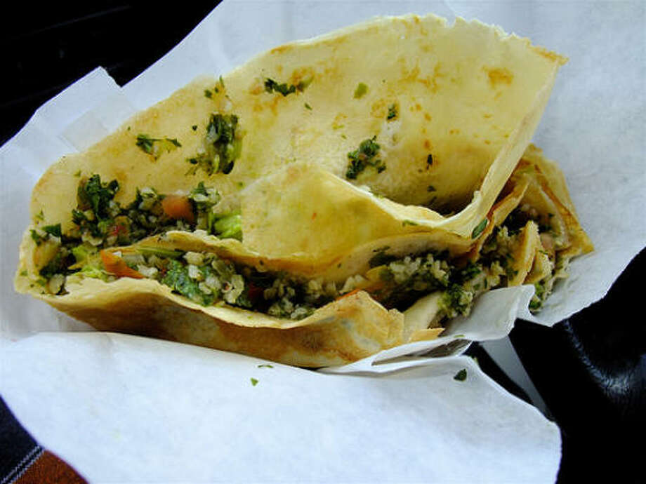 Tabouli & avocado crepe from the Melange Creperie cart, mornings & middays daily at Westheimer @ Taft. Photo: Alison Cook, Chronicle