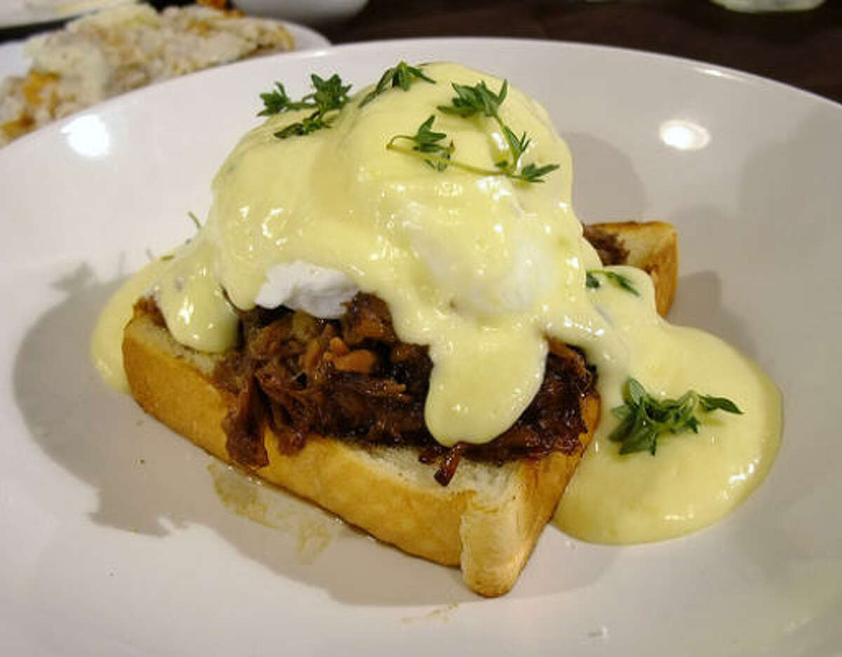 Braised oxtail Benedict on Texas Toast from chef Randy Rucker at Bootsie's Heritage Cafe in Tomball.