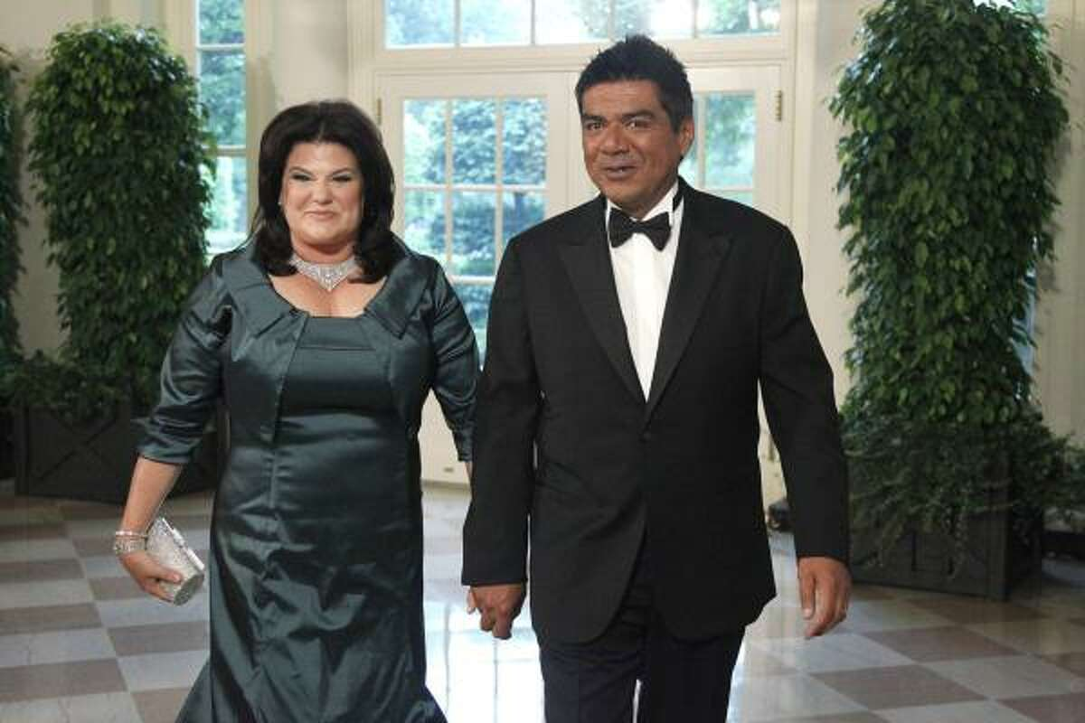 George Lopez and Ann M. Lopez arrive for the State Dinner for Mexican President Felipe Calderon.